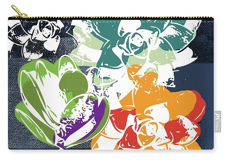 Succulents Carry-all Pouch featuring the mixed media Bold Succulents 1- Art By Linda Woods by Linda Woods