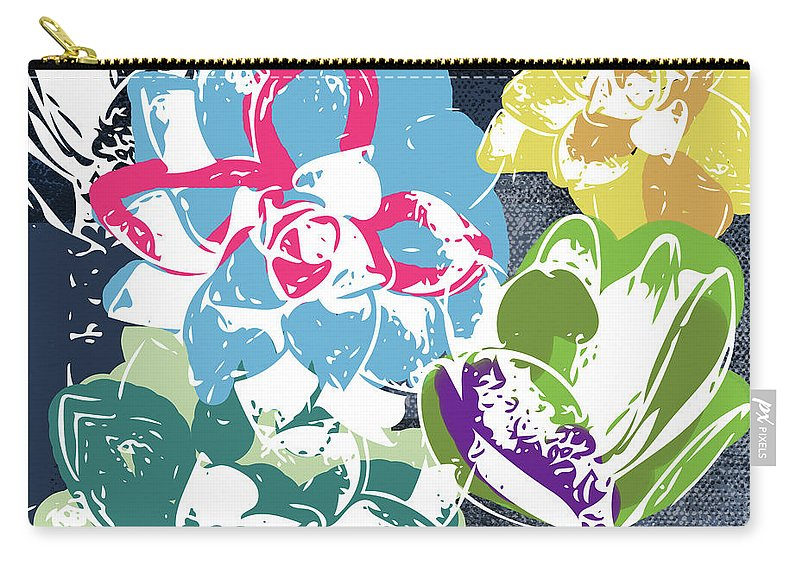 Succulents Carry-all Pouch featuring the mixed media Bold Succulents 2- Art By Linda Woods by Linda Woods