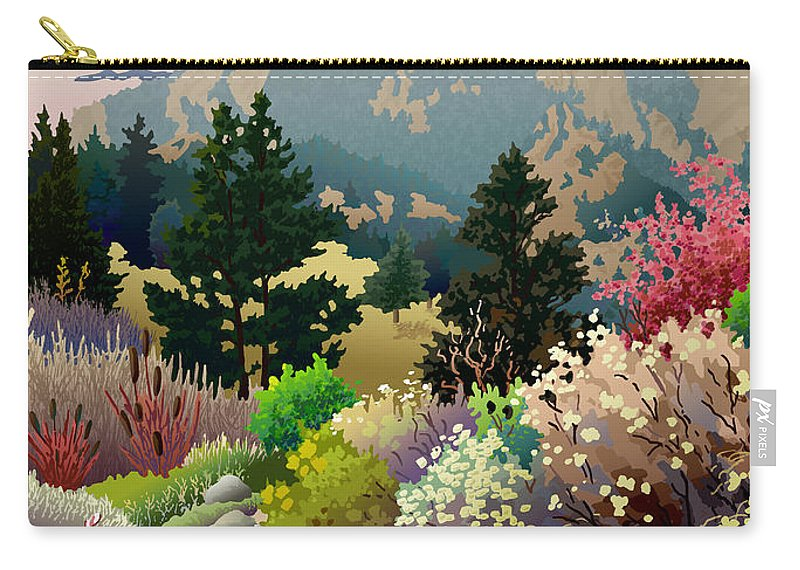 Serigraph Carry-all Pouch featuring the digital art Bolder Boulder 10K Poster 2007 by Anne Gifford