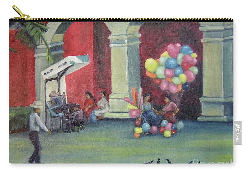 Mexico Carry-all Pouch featuring the painting Boleo en la Plaza by Lilibeth Andre