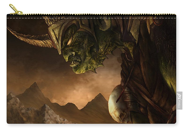 Goblin Carry-all Pouch featuring the mixed media Bolg The Goblin King by Curtiss Shaffer