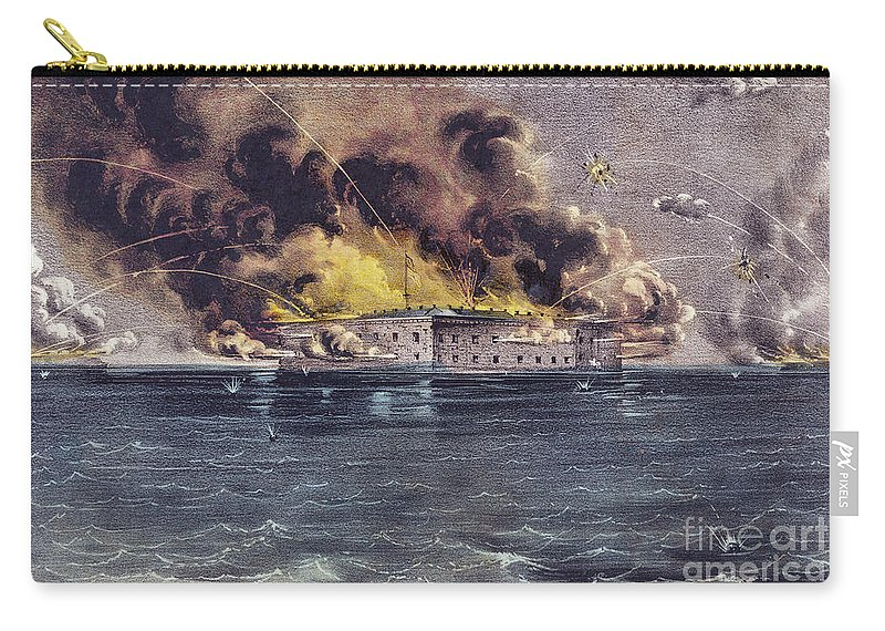 Fort Sumter Carry-all Pouch featuring the painting Bombardment Of Fort Sumter, Charleston Harbor, Signaled The Start Of The American Civil War by American School