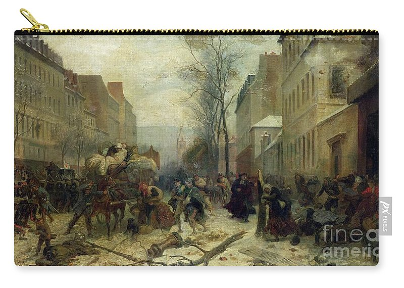 Bombardment Carry-all Pouch featuring the painting Bombardment Of Paris In 1871 by Felix Philippoteaux