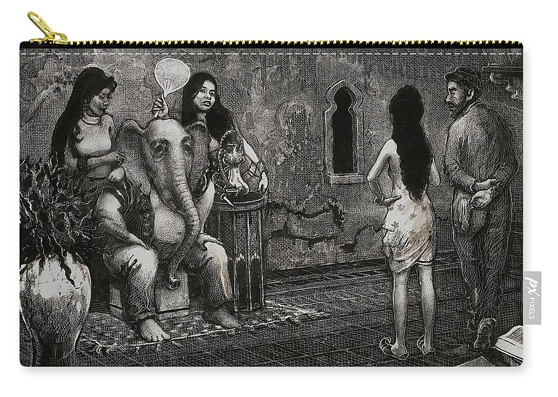 Scratchboard Drawing Carry-all Pouch featuring the drawing Bombay by Scott Gillis