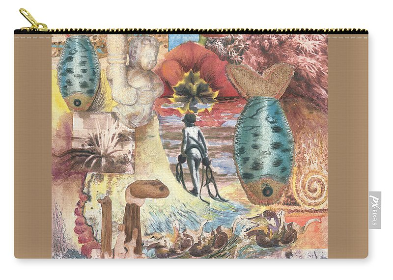 Abstract Carry-all Pouch featuring the digital art Bombs Away by Valerie Meotti
