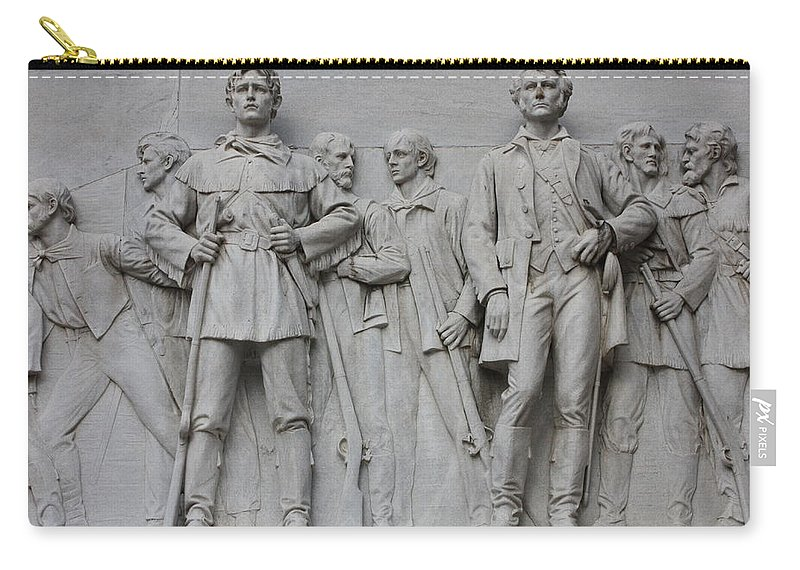 Alamo Carry-all Pouch featuring the photograph Bonham And Bowie On Alamo Monument by Carol Groenen