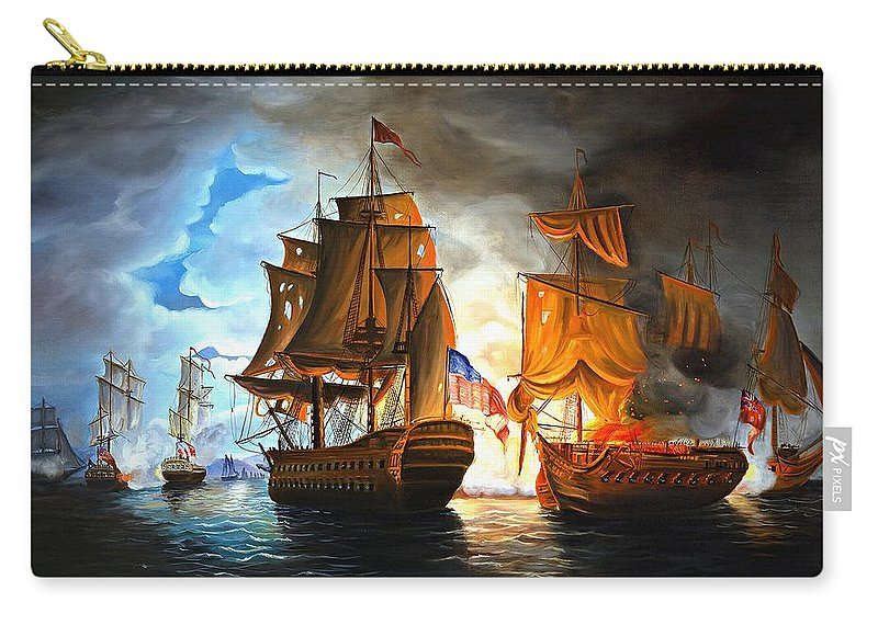 Naval Battle Carry-all Pouch featuring the painting Bonhomme Richard Engaging The Serapis In Battle by Paul Walsh