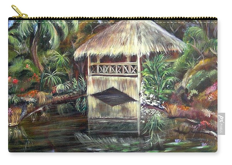 Bonnet House Carry-all Pouch featuring the painting Bonnet House Chickee by Patricia Piffath