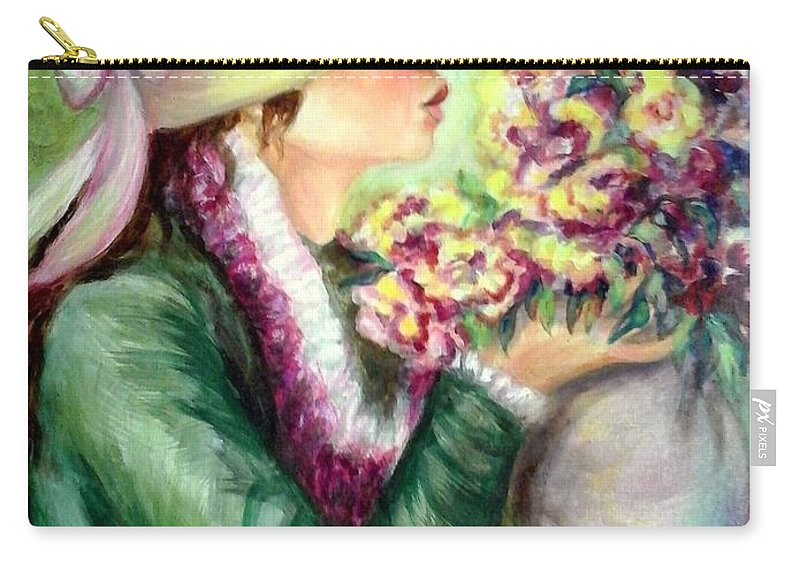 Impressionist Carry-all Pouch featuring the painting Bonnet Of Flowers by Em Scott