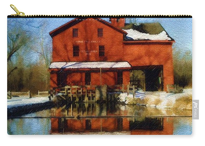 Bonneyville Mill Carry-all Pouch featuring the photograph Bonneyville In Winter by Sandy MacGowan