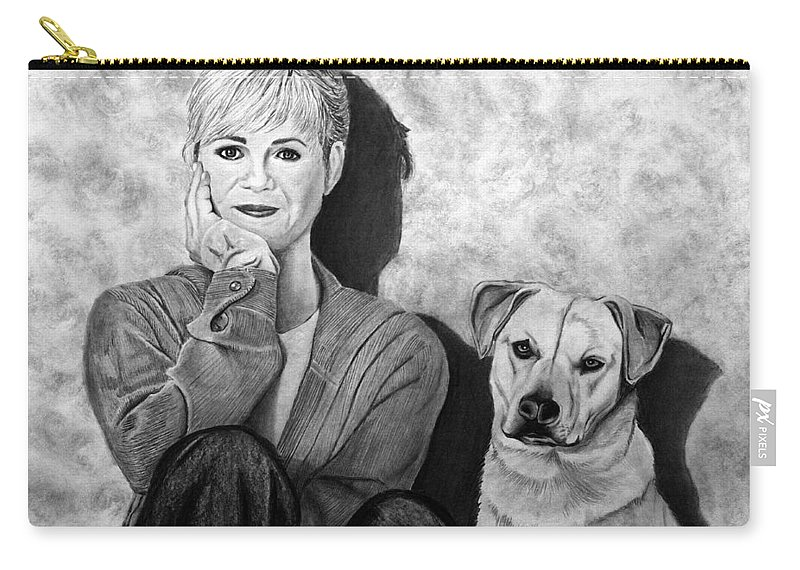 Bonnie Hunt And Charlie Carry-all Pouch featuring the drawing Bonnie Hunt And Charlie by Peter Piatt
