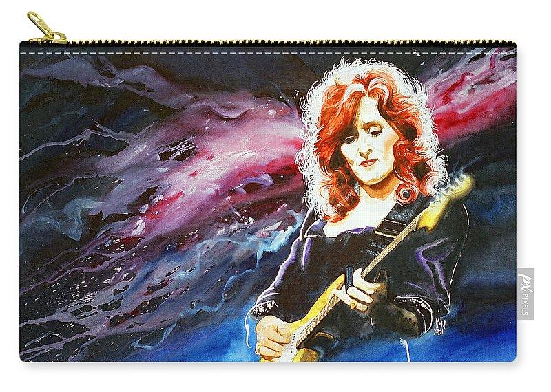 Women Carry-all Pouch featuring the painting Bonnie Raitt by Ken Meyer jr