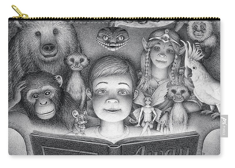 Drawing Carry-all Pouch featuring the drawing Book Club by Mike Farrell