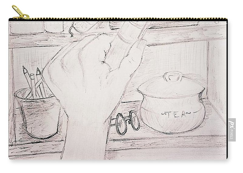 Book Carry-all Pouch featuring the drawing Book In Hand by Richard Howell