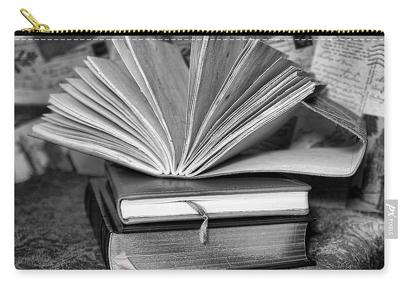 Books Carry-all Pouch featuring the photograph Books In Black And White by Pamela Walton