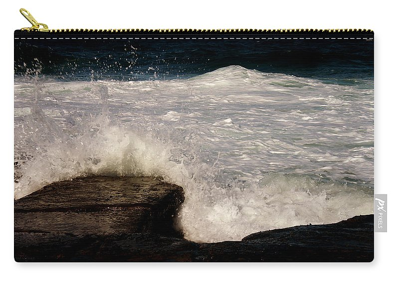 Rocks Carry-all Pouch featuring the photograph Boom by Susan Vineyard