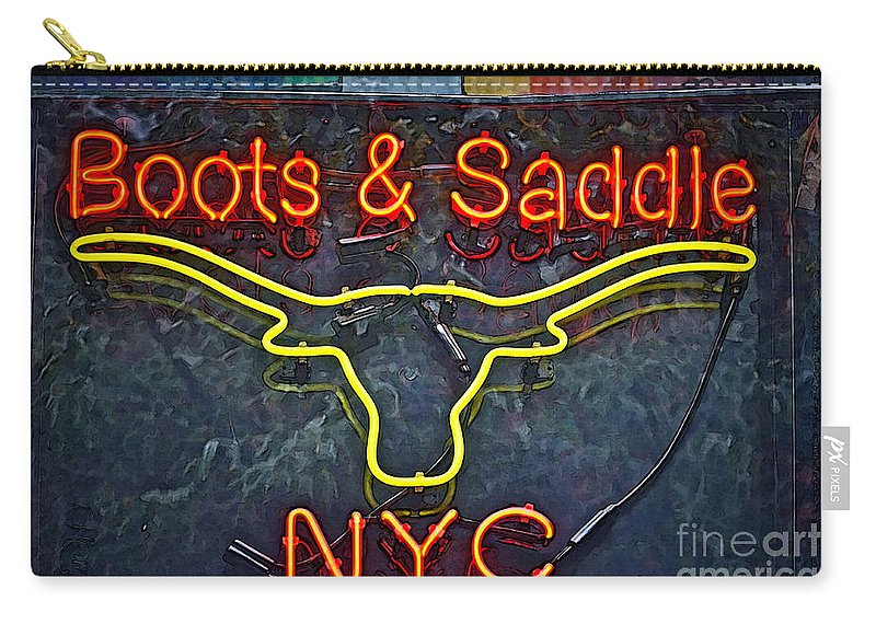 Boots Carry-all Pouch featuring the photograph Boots And Saddle Nyc by Gwyn Newcombe
