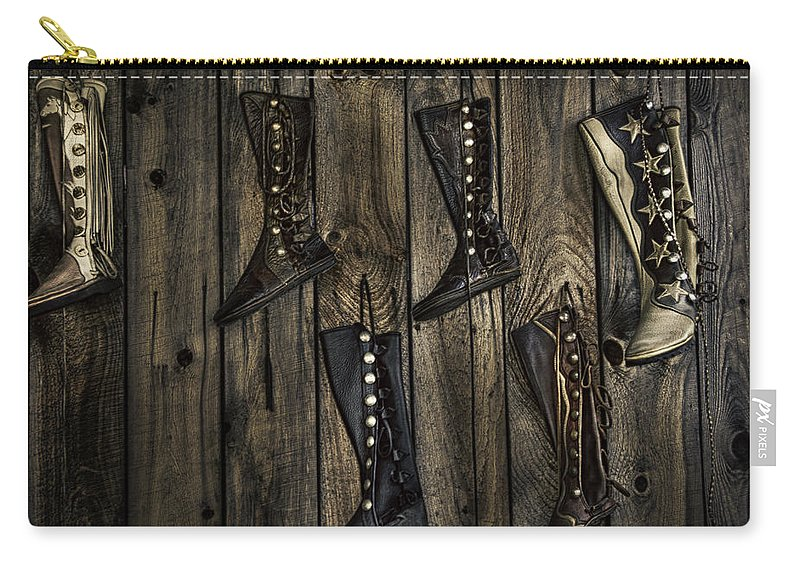 Boots Carry-all Pouch featuring the photograph Boots Anyone? by Eleanor Bortnick
