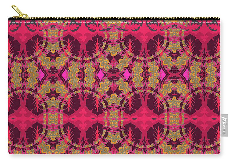 Red Pattern Carry-all Pouch featuring the digital art Bordeaux by Ceil Diskin