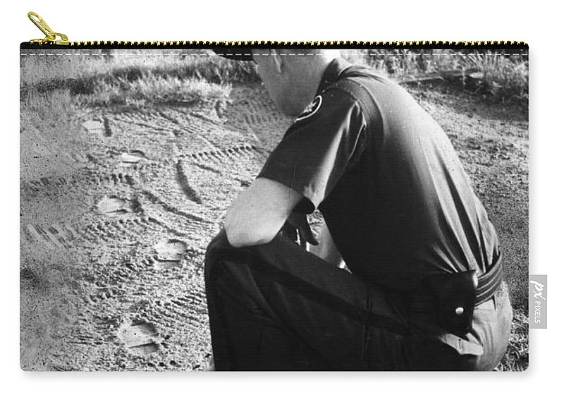 1957 Carry-all Pouch featuring the photograph Border Patrol Inspector by Granger