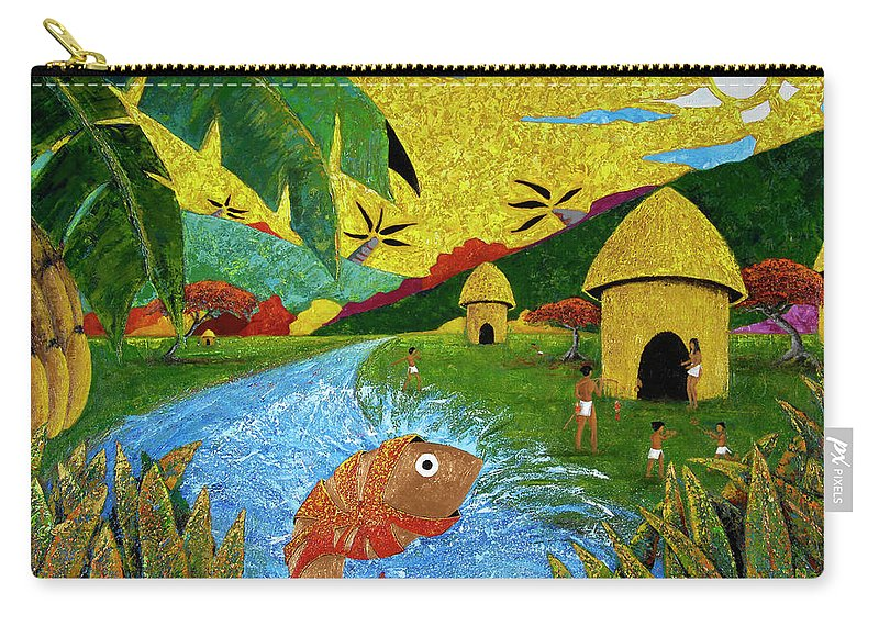 Tainos Carry-all Pouch featuring the painting Boriken by Oscar Ortiz