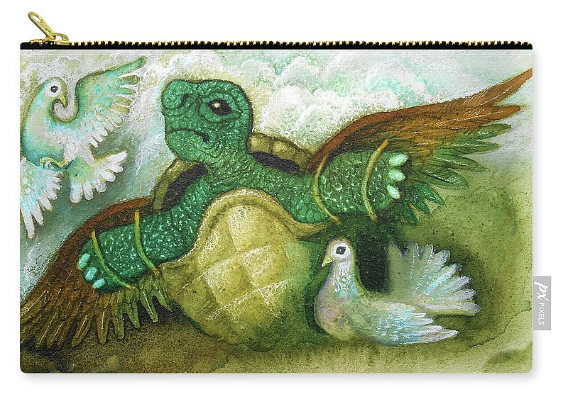 Turtle Pigeon Crawling Fly Animals And Birds Carry-all Pouch featuring the painting Born For Crawling Will Not Fly by Leon Zernitsky