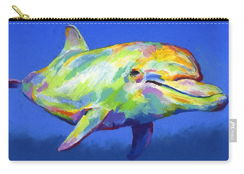 Dolphin Carry-all Pouch featuring the pastel Born To Live Wild by Stephen Anderson
