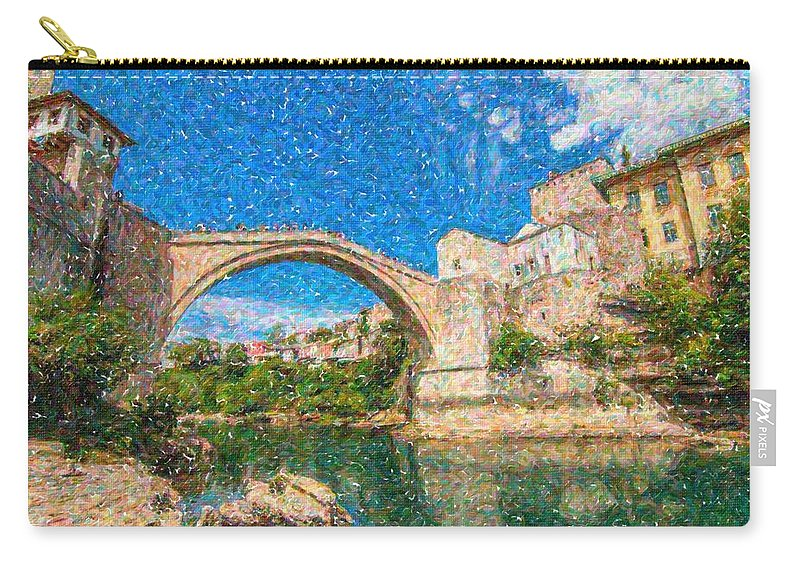 Bosnia Mostar Herzegovina Europe Travel Landmark Carry-all Pouch featuring the painting Bosnia Mostar Herzegovina Europe Travel Landmark by Celestial Images