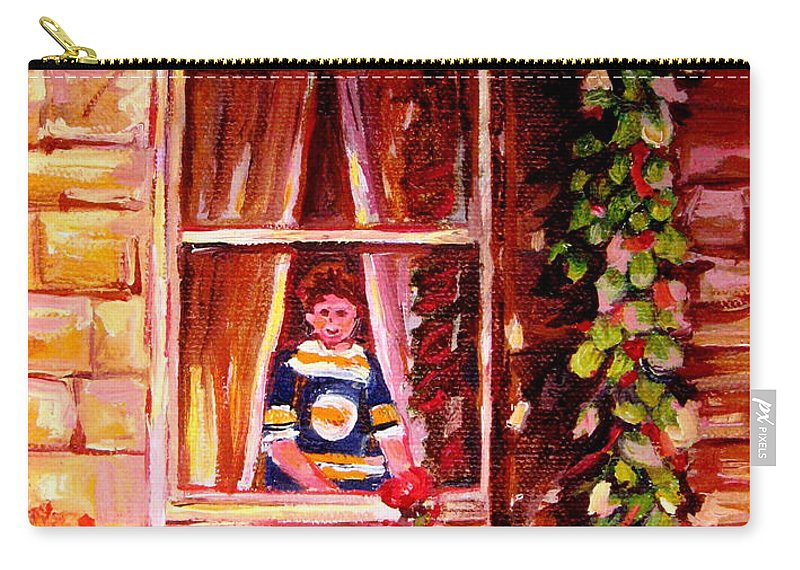 Boston Bruin Fan Carry-all Pouch featuring the painting Boston Bruin Fan by Carole Spandau