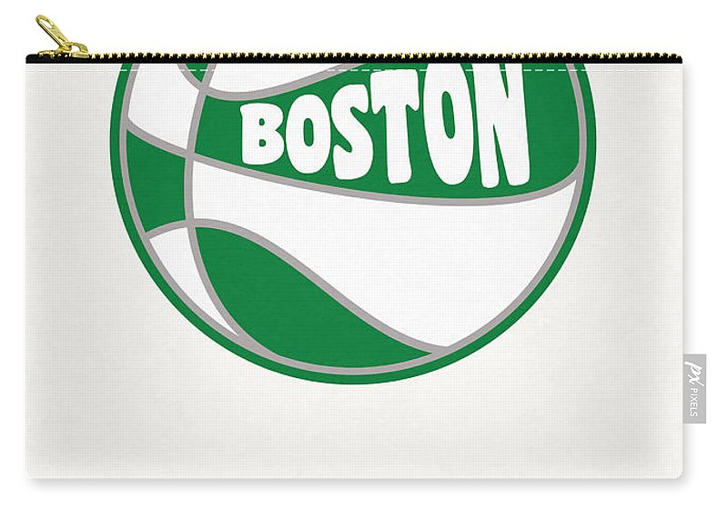 Celtics Carry-all Pouch featuring the mixed media Boston Celtics Vintage Basketball Art by Joe Hamilton
