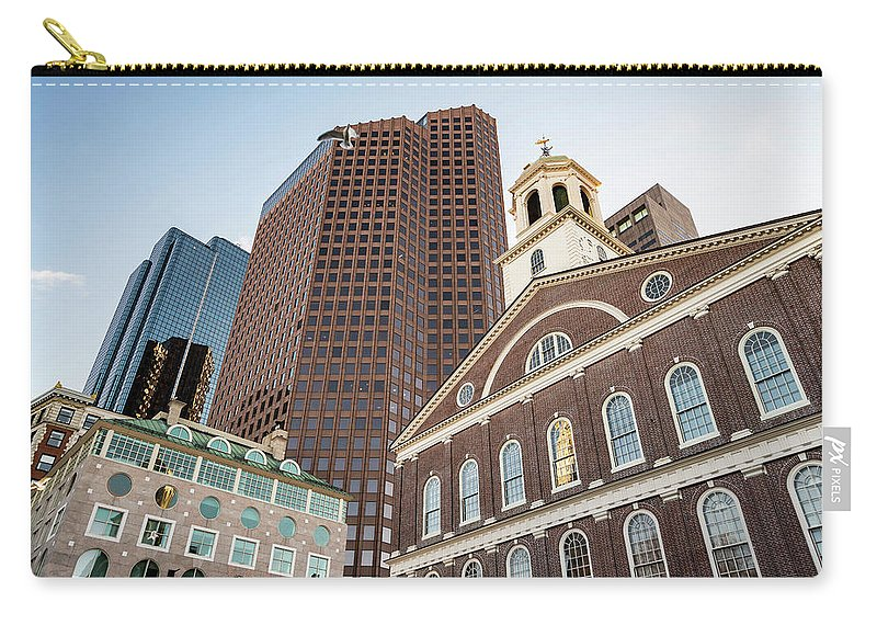 Architectural Carry-all Pouch featuring the photograph Boston City Skyline by Enrico Della Pietra