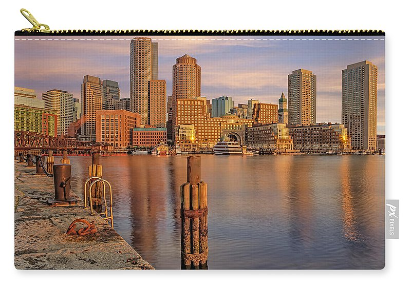 Boston Carry-all Pouch featuring the photograph Boston Habor Sunrise by Susan Candelario