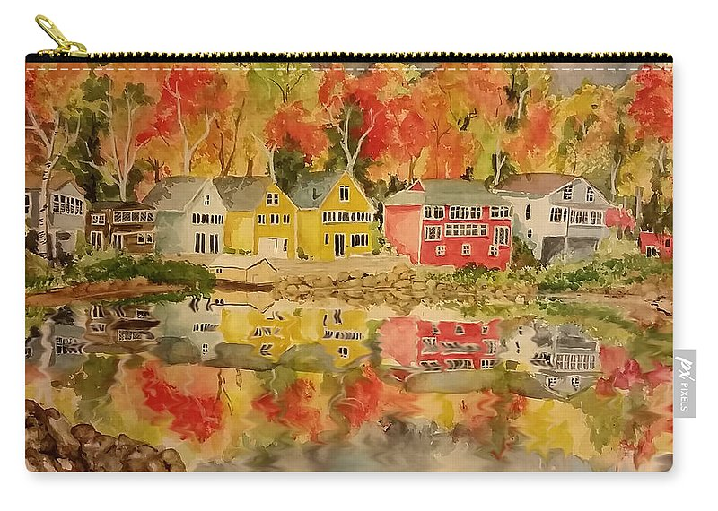 Fall Carry-all Pouch featuring the painting Boston In The Fall by Aaron Beaty