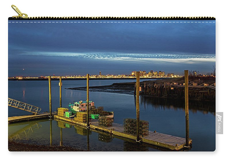 Boston Carry-all Pouch featuring the photograph Boston Ma Belle Isle Boat Pier And Skyline Logan Airport by Toby McGuire