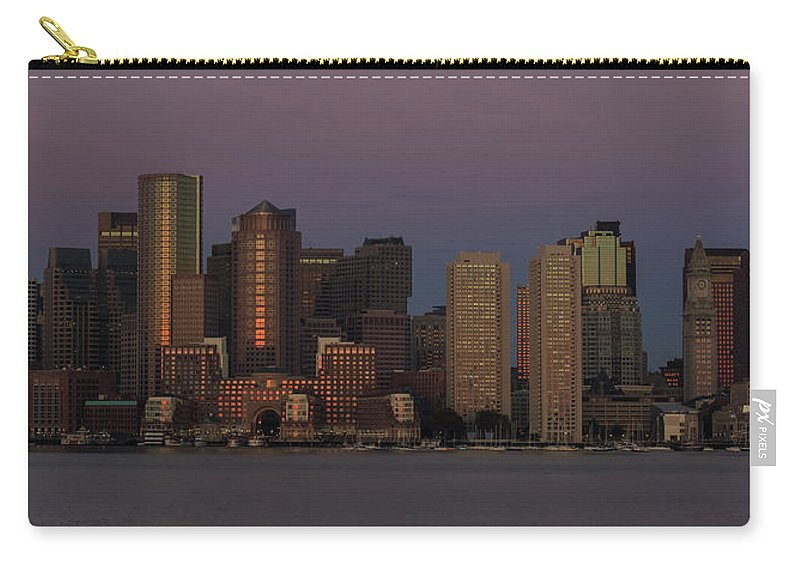 Boston Carry-all Pouch featuring the photograph Boston Moonset And Sunrise by Rob Davies