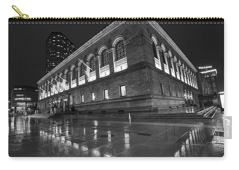 Boston Carry-all Pouch featuring the photograph Boston Public Library Rainy Night Boston Ma Black And White by Toby McGuire