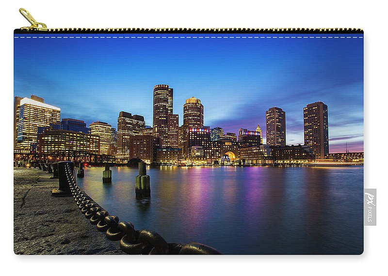 America Carry-all Pouch featuring the photograph Boston Skyline At Dusk by Mircea Costina Photography