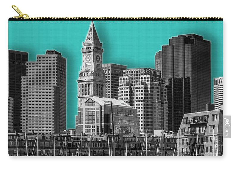 Boston Carry-all Pouch featuring the digital art Boston Skyline - Graphic Art - Cyan by Melanie Viola