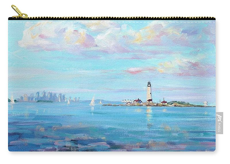 Seascape Carry-all Pouch featuring the painting Boston Skyline by Laura Lee Zanghetti