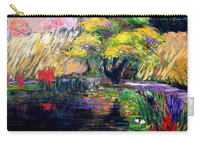 Art Nomad Carry-all Pouch featuring the painting Botanical Garden in Lund Sweden by Art Nomad Sandra Hansen
