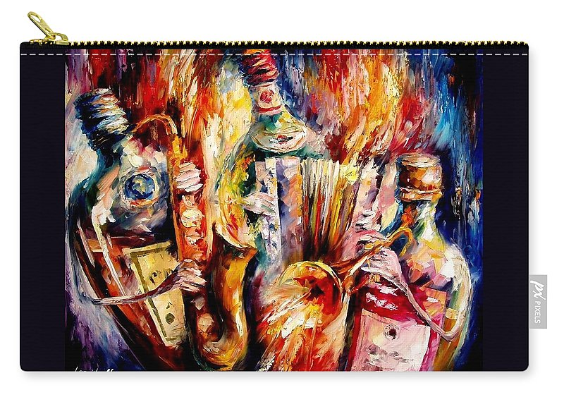 Bottle Jazz Carry-all Pouch featuring the painting Bottle Jazz by Leonid Afremov