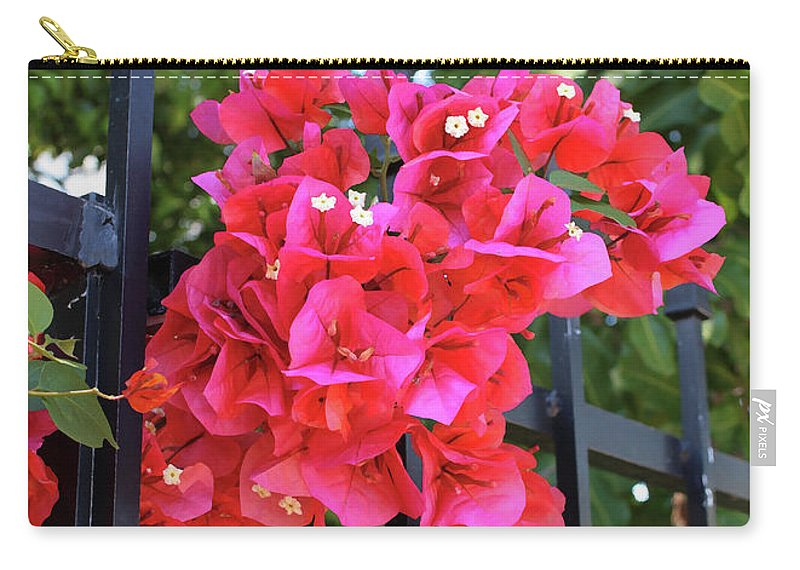 Bougainvillea Carry-all Pouch featuring the photograph Bougainvillea On Southern Fence by Carol Groenen