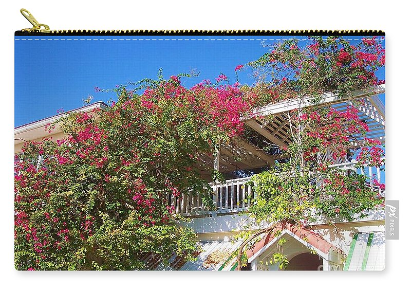Flowers Carry-all Pouch featuring the photograph Bougainvillea Villa by Debbi Granruth