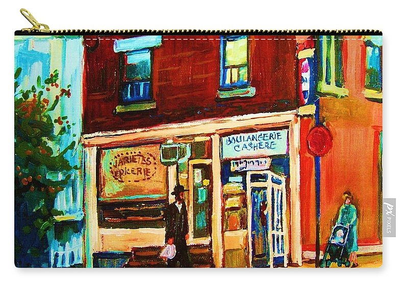 Kosher Bakery Carry-all Pouch featuring the painting Boulangerie Cachere by Carole Spandau