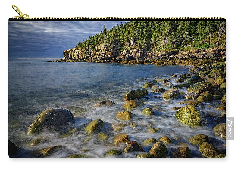Maine Carry-all Pouch featuring the photograph Boulder Beach Morning by Rick Berk