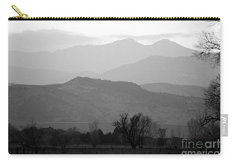 Foothills Carry-all Pouch featuring the photograph Boulder County Foothills To The Rockies Bw by James BO Insogna