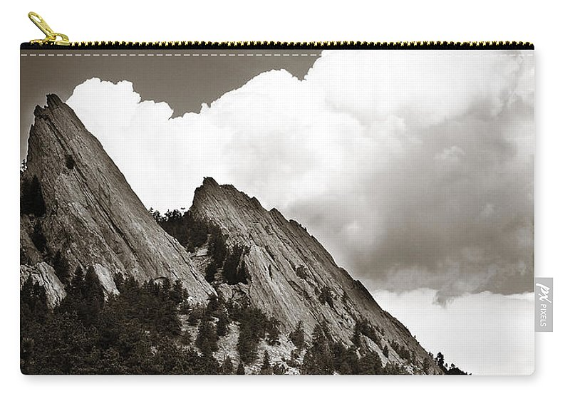 Flatirons Carry-all Pouch featuring the photograph Large Cloud Over Flatirons by Marilyn Hunt