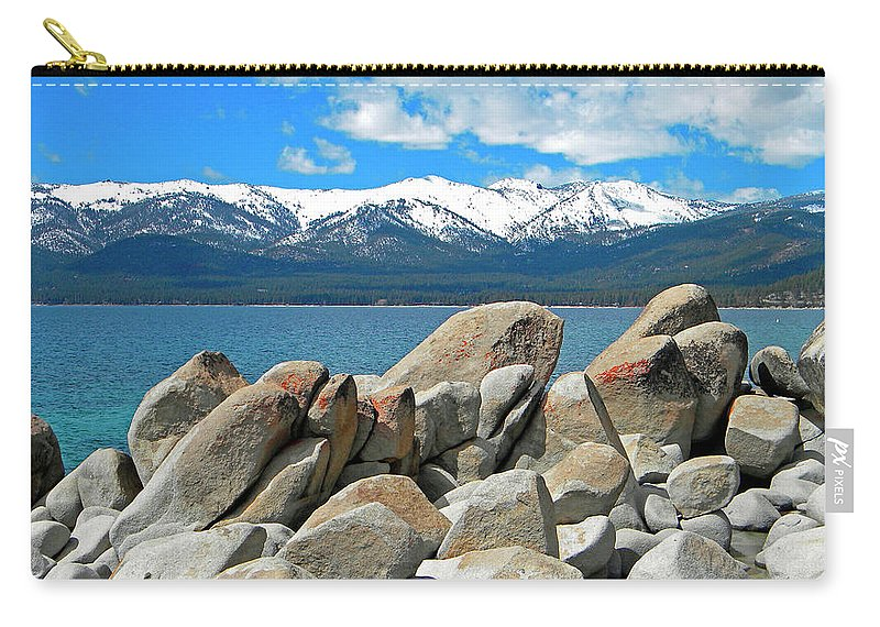 Boulder Shore Lake Tahoe Carry-all Pouch featuring the photograph Boulder Shore Lake Tahoe by Frank Wilson