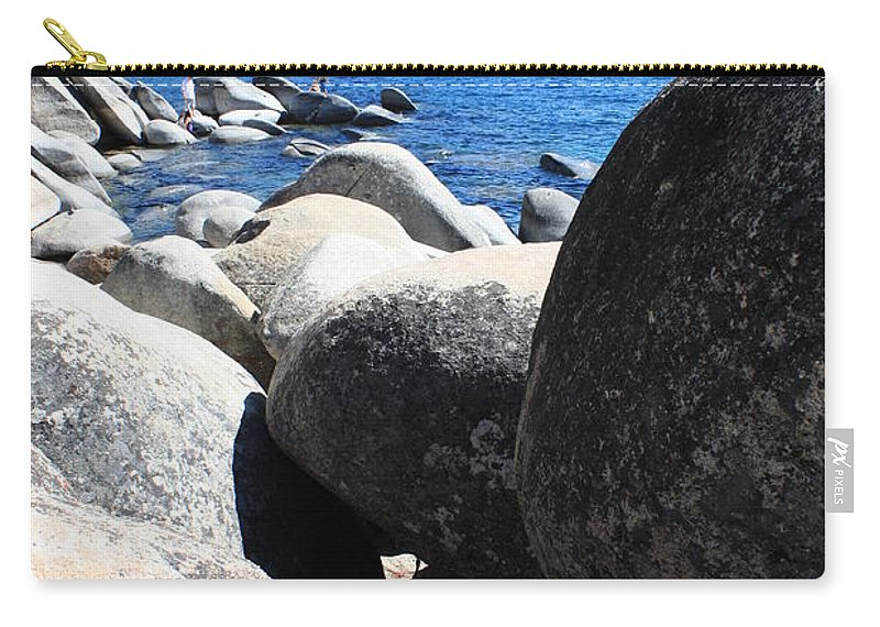 Boulders Carry-all Pouch featuring the photograph Boulders On Lake Tahoe by Carol Groenen