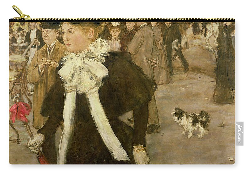 Boulevard Des Italiens By Jean Francois Raffaelli (1850-1924):boulevard Des Italiens99:crowd; Hat; Cafe; Carriage; Dog; Umbrella; Impressionist; Street Scene; Paris; France Carry-all Pouch featuring the painting Boulevard Des Italiens by Jean Francois Raffaelli